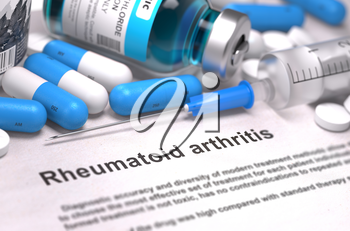 Rheumatoid Arthritis - Printed Diagnosis with Blue Pills, Injections and Syringe. Medical Concept with Selective Focus. 3D Render.