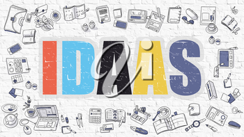 IDAAS -  Identity as a Service - Concept. Idaas Drawn on White Wall. Idaas in Multicolor. Modern Style Illustration. Doodle Design Style of IDAAS. Line Style Illustration. White Brick Wall.