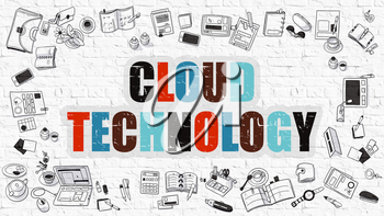 Multicolor Concept - Cloud Technology - on White Brick Wall with Doodle Icons Around. Modern Illustration with Doodle Design Style.