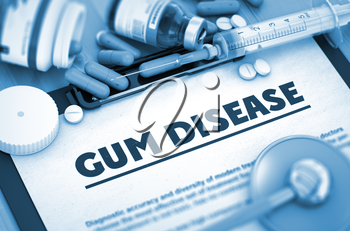 Gum Disease - Medical Report with Composition of Medicaments - Pills, Injections and Syringe. 3D Render.