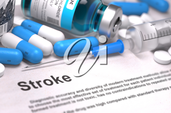 Stroke - Medical Report with Composition of Medicaments - Blue Pills, Injections and Syringe. Blurred Background with Selective Focus. 3D Render.