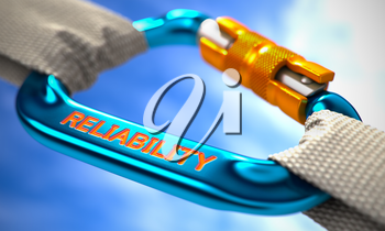 Strong Connection between Blue Carabiner and Two White Ropes Symbolizing the Reliability. Selective Focus. 3D Render.