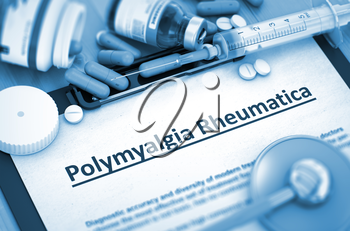 Polymyalgia Rheumatica - Medical Report with Composition of  Pills, Injections and Syringe. Polymyalgia Rheumatica, Medical Concept with Pills, Injections and Syringe. Toned Image. 3D Render.