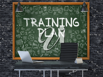 Hand Drawn Training Plan on Green Chalkboard. Modern Office Interior. Dark Brick Wall Background. Business Concept with Doodle Style Elements. 3D.