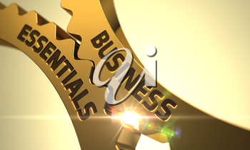 Golden Metallic Gears with Business Essentials Concept. Business Essentials - Concept. Business Essentials on Mechanism of Golden Cogwheels with Lens Flare. 3D.