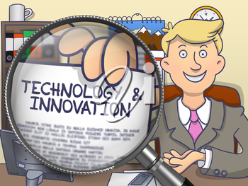 Technology and Innovation on Paper in Man's Hand to Illustrate a Business Concept. Closeup View through Magnifier. Multicolor Doodle Style Illustration.