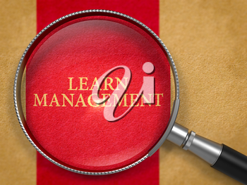 Learn Management through Lens on Old Paper with Dark Red Vertical Line Background. 3D Render.