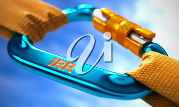 IRR - Internal Rate Return - on Blue Carabine with a Orange Ropes. Selective Focus. 3D Render.