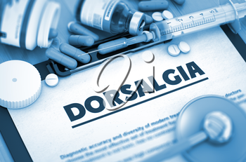 Dorsalgia, Medical Concept with Selective Focus. Dorsalgia, Medical Concept with Pills, Injections and Syringe. Toned Image. 3D.
