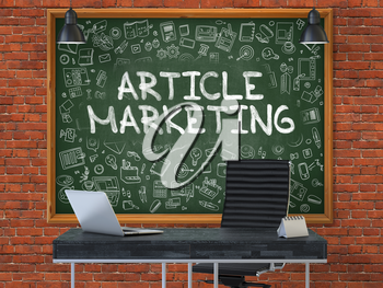 Article Marketing - Handwritten Inscription by Chalk on Green Chalkboard with Doodle Icons Around. Business Concept in the Interior of a Modern Office on the Red Brick Wall Background. 3D.
