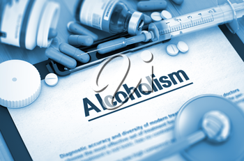 Alcoholism, Medical Concept with Pills, Injections and Syringe. Alcoholism Diagnosis, Medical Concept. Composition of Medicaments. Toned Image. 3D Render.