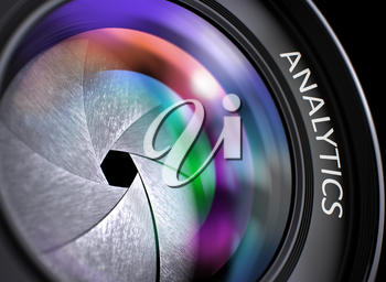 Analytics on SLR Camera Lens. Colorful Lens Flares. Selective Focus with Shallow Depth of Field. Lens of Digital Camera with Analytics Concept, Closeup. Lens Flare Effect. 3D Render.