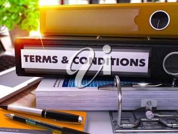 Black Ring Binder with Inscription Terms and Conditions on Blurred Background of Working Table with Office Supplies and Laptop. Terms and Conditions Business Concept on Blurred Background. 3D Render.