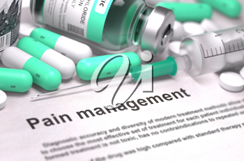 Pain Management. Medical Concept with LIght Green Pills, Injections and Syringe. Selective Focus. Blurred Background. 3D Render.