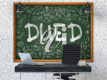 Hand Drawn Dued on Green Chalkboard. Modern Office Interior. White Brick Wall Background. Business Concept with Doodle Style Elements. 3D.