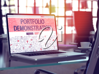 Portfolio Demonstration Concept - Closeup on Landing Page of Laptop Screen in Modern Office Workplace. Toned Image with Selective Focus. 3D Render.