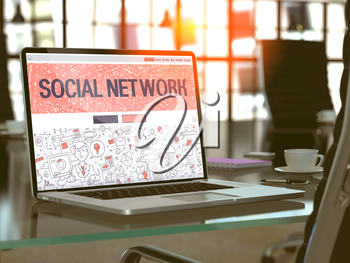 Social Network Concept - Closeup on Landing Page of Laptop Screen in Modern Office Workplace. Toned Image with Selective Focus. 3D Render.