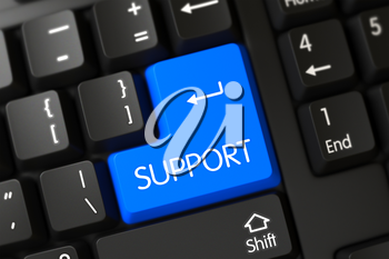 PC Keyboard with the words Support on Blue Button. Concepts of Support, with a Support on Blue Enter Keypad on Modern Laptop Keyboard. Support Keypad. A Keyboard with Blue Keypad - Support. 3D Render.