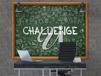 Green Chalkboard with the Text Challenge Hangs on the Dark Old Concrete Wall in the Interior of a Modern Office. Illustration with Doodle Style Elements. 3D.