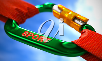Green Carabiner between Red Ropes on Sky Background, Symbolizing the Sport. Selective Focus. 3D Render.