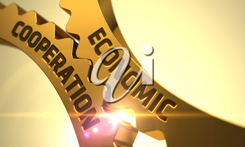 Economic Cooperation - Concept. Economic Cooperation on Mechanism of Golden Gears with Glow Effect. Economic Cooperation on the Golden Gears. Economic Cooperation on Mechanism of Golden Cog Gears. 3D.