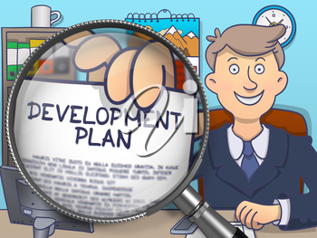 Man Sitting in Office and Showing Concept on Paper Development Plan. Closeup View through Magnifying Glass. Multicolor Modern Line Illustration in Doodle Style.