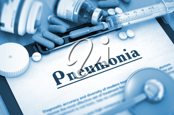 Pneumonia - Medical Report with Composition of Medicaments - Pills, Injections and Syringe. 3D Render.