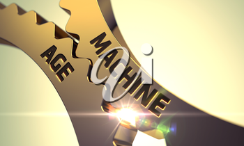Machine Age - Technical Design. Golden Metallic Gears with Machine Age Concept. Machine Age - Concept. Machine Age - Industrial Illustration with Glow Effect and Lens Flare. 3D Render.