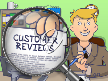 Customer Reviews through Magnifier. Business Man in Office Holding Paper with Text Customer Reviews. Colored Modern Line Illustration in Doodle Style.