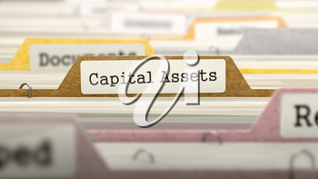 Capital Assets - Folder Register Name in Directory. Colored, Blurred Image. Closeup View. 3D Render.