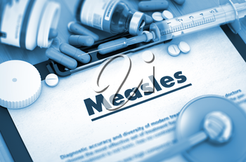 Diagnosis - Measles On Background of Medicaments Composition - Pills, Injections and Syringe. 3D Render.