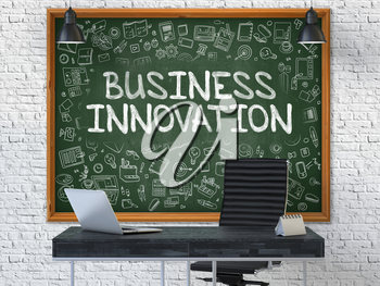 Business Innovation Concept Handwritten on Green Chalkboard with Doodle Icons. Office Interior with Modern Workplace. White Brick Wall Background. 3D.