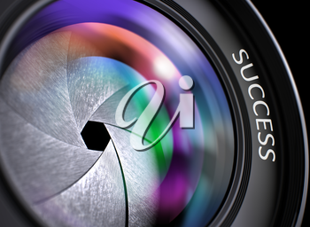Success Written on SLR Camera Lens with Shutter. Colorful Lens Reflections. Closeup View. Camera Photo Lens with Bright Colored Flares. Success Concept. 3D Illustration.