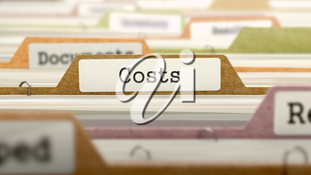 Costs Concept on File Label in Multicolor Card Index. Closeup View. Selective Focus. 3D Render.