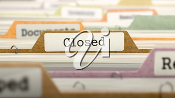 File Folder Labeled as Closed in Multicolor Archive. Closeup View. Blurred Image. 3D Render.