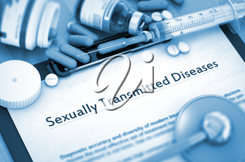 Diagnosis - Sexually Transmitted Diseases On Background of Medicaments Composition - Pills, Injections and Syringe. 3D.