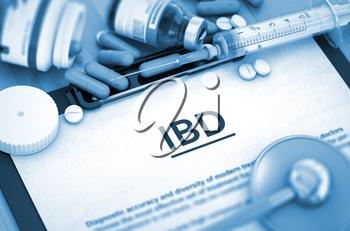 IBD Diagnosis, Medical Concept. Composition of Medicaments. IBD - Medical Report with Composition of Medicaments - Pills, Injections and Syringe. IBD, Medical Concept with Selective Focus. 3D.