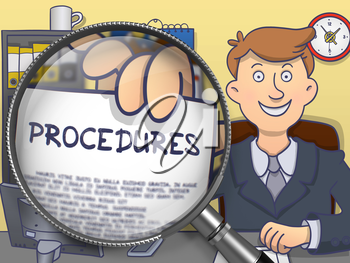 Man in Suit Looking at Camera and Holding a Paper with Procedures Concept through Magnifying Glass. Closeup View. Colored Doodle Style Illustration.