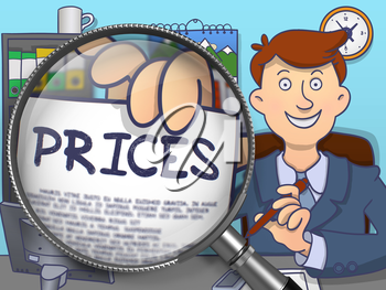 Man in Suit Looking at Camera and Shows Paper with Prices Concept through Lens. Closeup View. Multicolor Doodle Style Illustration.