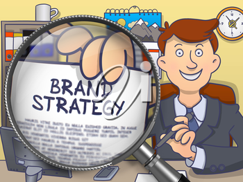 Businessman in Suit Looking at Camera and Holds Out Paper with Brand Strategy Concept through Magnifier. Closeup View. Multicolor Modern Line Illustration in Doodle Style.