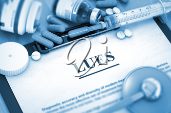 LUES - Medical Report with Composition of Medicaments - Pills, Injections and Syringe. LUES, Medical Concept with Selective Focus. 3D.