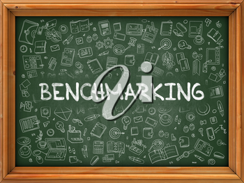 Benchmarking - Hand Drawn on Green Chalkboard with Doodle Icons Around. Modern Illustration with Doodle Design Style.