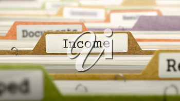 File Folder Labeled as Income in Multicolor Archive. Closeup View. Blurred Image. 3D Render.