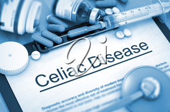 Celiac Disease - Medical Report with Composition of Medicaments - Pills, Injections and Syringe. Celiac Disease, Medical Concept with Pills, Injections and Syringe. 3D.