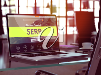 SERP - Search Engine Results Page - Concept. Closeup Landing Page on Laptop Screen  on background of Comfortable Working Place in Modern Office. Blurred, Toned Image. 3D Render.