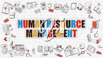 Human Resource Management - Multicolor Concept with Doodle Icons Around on White Brick Wall Background. Modern Illustration with Elements of Doodle Design Style.