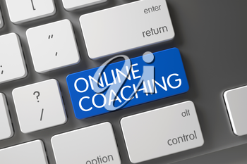 Laptop Keyboard with the words Online Coaching on Blue Key. Online Coaching Concept: Modern Laptop Keyboard with Online Coaching, Selected Focus on Blue Enter Key. 3D Illustration.
