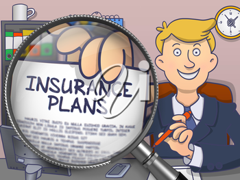 Insurance Plans. Stylish Businessman in Office Shows Paper with Offer through Magnifying Glass. Multicolor Modern Line Illustration in Doodle Style.