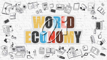 World Economy - Multicolor Concept with Doodle Icons Around on White Brick Wall Background. Modern Illustration with Elements of Doodle Design Style.