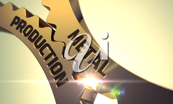 Metal Production on the Mechanism of Golden Metallic Cogwheels with Lens Flare. Metal Production - Technical Design. Metal Production - Industrial Illustration with Glow Effect and Lens Flare. 3D.